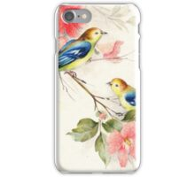 008 Phone Cases & Skins Colorful birds with red flowers iPhone Case/Skin