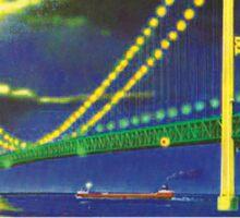 MACKINAC ISLAND MICHIGAN BRIDGE LAKE HURON GREAT LAKES VINTAGE BOAT 2 Sticker