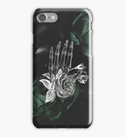Skeleton Hand On Moody Green Floral Background iPhone Case/Skin