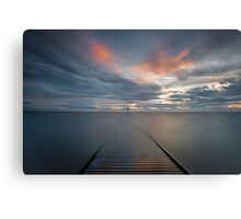 Sunset over Lytham Jetty in Lancashire Canvas Print