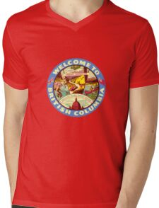 British Columbia BC Canada Vintage Welcome To Decal Mens V-Neck T-Shirt