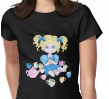 Alice in wonderland doll having tea Womens Fitted T-Shirt