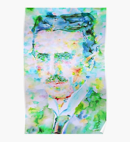 NIKOLA TESLA watercolor portrait Poster