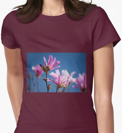 Vibrant pink Magnolia flowers Womens Fitted T-Shirt