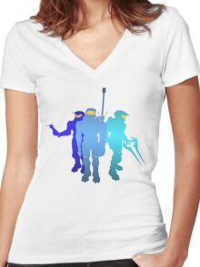 Blue Team Women's Fitted V-Neck T-Shirt