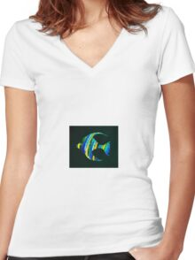 Salty angelfish Women's Fitted V-Neck T-Shirt