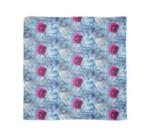 Vibrant Pink Rose On Blue Raindrops  Scarf