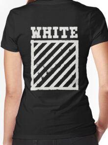 Off-White Brushed Diagonal Stripes Women's Fitted V-Neck T-Shirt