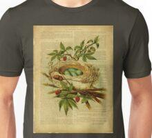 vintage print, on old book page - bird nest Unisex T-Shirt