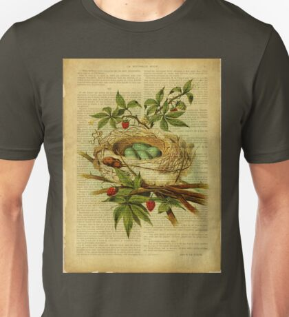 vintage print, on old book page - bird nest Unisex T-Shirt