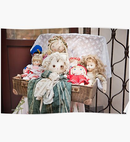 Retro rag dolls toys collection Poster