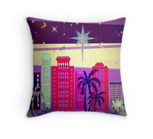 Stardust Christmas Skyline Throw Pillow