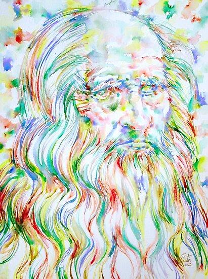 LEONARDO DA VINCI - watercolor portrait by lautir