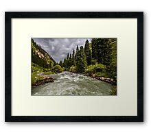 Alpine Riverview - Kyrgyzstan, Central Asia Framed Print
