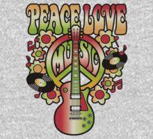 Peace-Love-Music One Piece - Short Sleeve