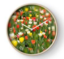 Various tulips mix grow Clock