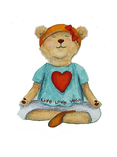 Live Love Yoga Bear in meditation by Monica Batiste