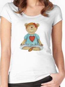 Live Love Yoga Bear in meditation Women's Fitted Scoop T-Shirt