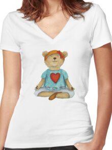 Live Love Yoga Bear in meditation Women's Fitted V-Neck T-Shirt