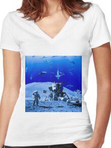 Something Strange on the Moon Women's Fitted V-Neck T-Shirt