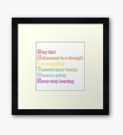 Sutton Foster - Life Lessons Acrostic | Color Framed Print