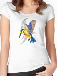 Sacred Kingfisher in flight Women's Fitted Scoop T-Shirt