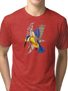 Sacred Kingfisher in flight Tri-blend T-Shirt