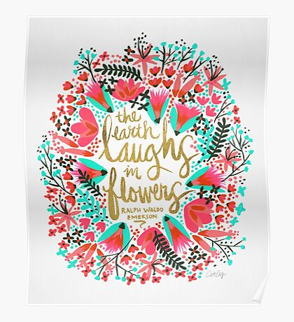 The Earth Laughs in Flowers – Pink & Gold Poster
