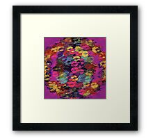 pink red yellow and purple kisses lipstick abstract background Framed Print