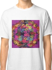 pink red yellow and purple kisses lipstick abstract background Classic T-Shirt