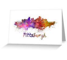 Pittsburgh skyline in watercolor Greeting Card