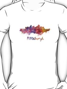 Pittsburgh skyline in watercolor T-Shirt