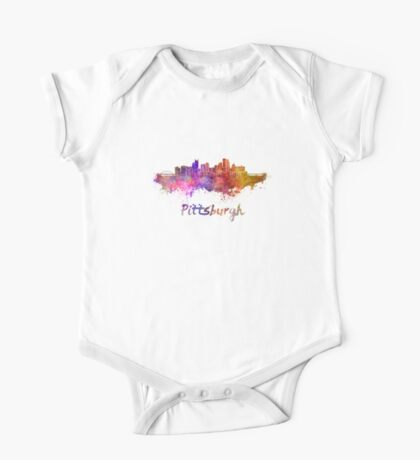 Pittsburgh skyline in watercolor One Piece - Short Sleeve