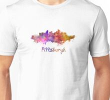 Pittsburgh skyline in watercolor Unisex T-Shirt