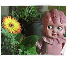 Old Doll enjoying a Gerbera Poster
