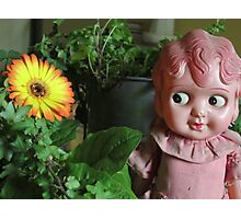 Old Doll enjoying a Gerbera Photographic Print