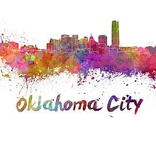 Oklahoma City skyline in watercolor by paulrommer