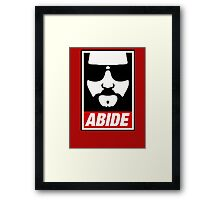 Jeff the big Lebowski abide obey poster Shepard Fairey parody Framed Print