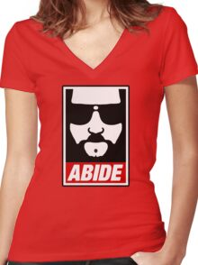Jeff the big Lebowski abide obey poster Shepard Fairey parody Women's Fitted V-Neck T-Shirt
