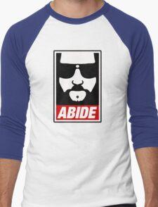Jeff the big Lebowski abide obey poster Shepard Fairey parody Men's Baseball ¾ T-Shirt