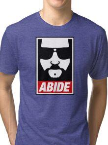 Jeff the big Lebowski abide obey poster Shepard Fairey parody Tri-blend T-Shirt