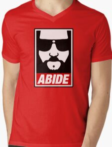 Jeff the big Lebowski abide obey poster Shepard Fairey parody Mens V-Neck T-Shirt