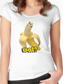Doge banana dog shibe shiba inus wat? Women's Fitted Scoop T-Shirt