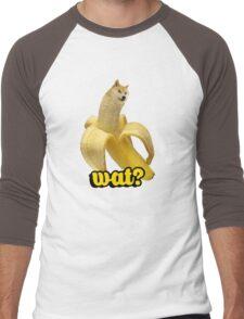 Doge banana dog shibe shiba inus wat? Men's Baseball ¾ T-Shirt