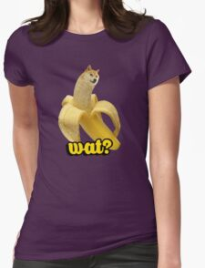Doge banana dog shibe shiba inus wat? Womens Fitted T-Shirt