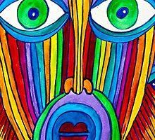 Rainbow Hand Drawn Face by aurielaki