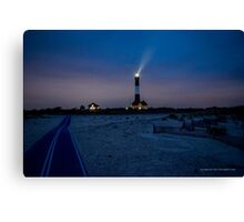 Night Walk By The Lighthouse   Fire Island, New York Canvas Print