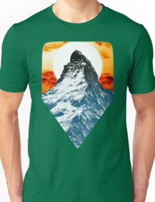 Snowy Mountain at Sunset Unisex T-Shirt