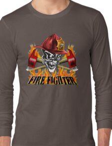 Fireman Skull Long Sleeve T-Shirt