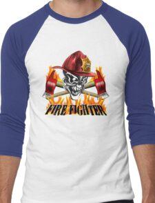 Fireman Skull Men's Baseball ¾ T-Shirt